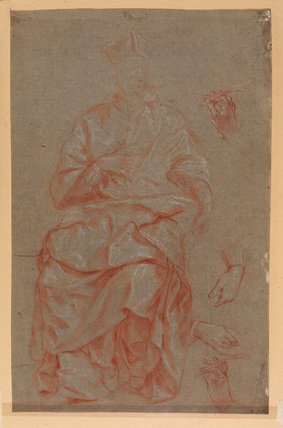 Seated ecclesisastic and studies of hands (recto)