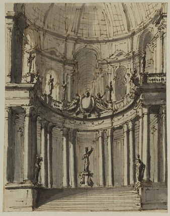 Interior of a domed building