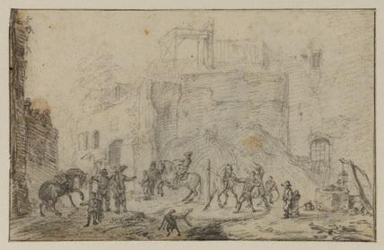 Cavalrymen and horses by a ruin (recto)