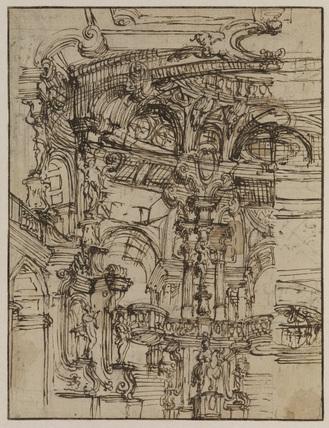 Interior of domed building - capriccio