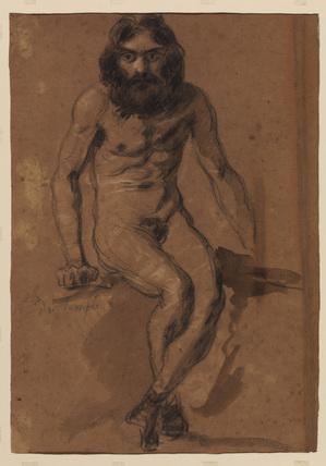 Nude bearded man, seated (verso)