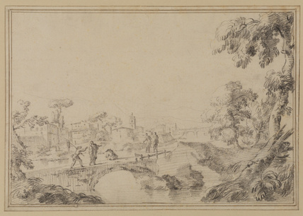 Italian landscape with buildings and figures