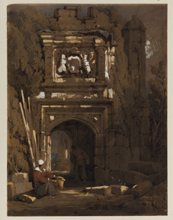 Gothic archway with a standing and a seated man