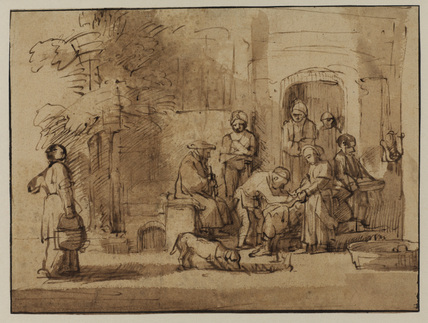 Composition of figures at the entrance of a house (recto)