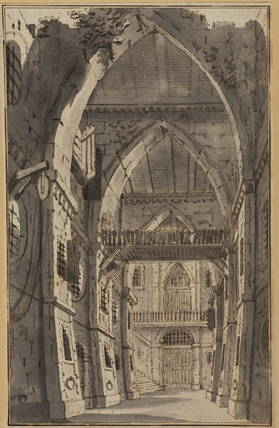 Interior of a Gothic fortress - stage design (?)