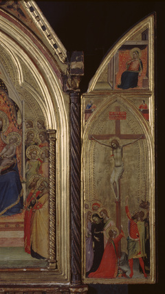 Triptych - Crucifixion, and two evangelists, and Virgin of the Annunciation (right panel, recto)