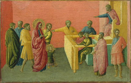Saints accused of embracing Christianity (left panel)