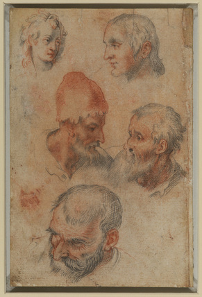 Five studies of heads (recto)