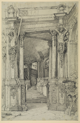 Entrance to Zwinger Palace, Dresden, with staircase
