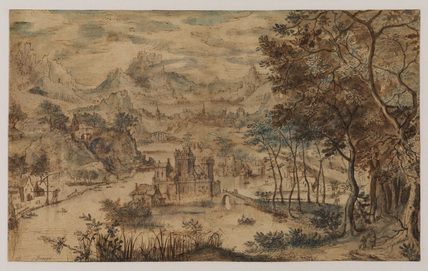 Fantastic landscape with figures