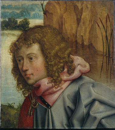 Head of a saint against a landscape (fragment)