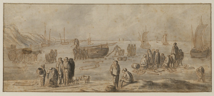 Scene on a sea-shore with boats and fishermen