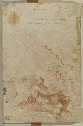 Sketch of seated male nude (verso)