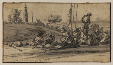 Landscape with soldiers and womenfolk