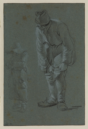 Man pulling on his hose, and another figure