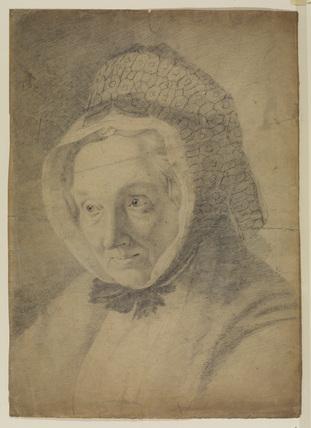 Portrait head of an elderly woman in a bonnet
