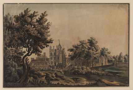 Landscape with view of mediaeval or manorial house