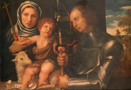 Infant Saint John with a female saint and a warrior saint