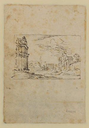 Sketch for a view in Rome (verso)