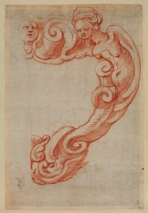 Design for a cartouche with the torso of an angel and a head