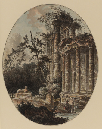 Landscape with ruins and washerwoman by a stream