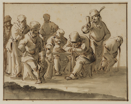 Group of peasants in an ale-house (recto)