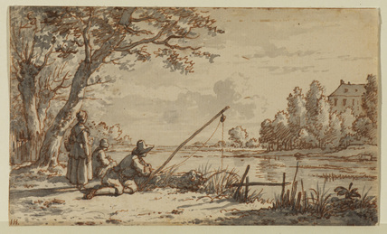 River landscape with anglers