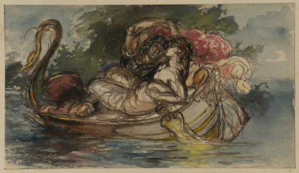 Study for 'Phaedria and Cymochles in the Idle Lake' (or study for 'Mars and Venus') (Art Museum, Princeton University or Lady Lever Art Gallery, Port Sunlight)