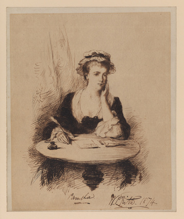 Pamela - portrait of a lady seated at a writing table