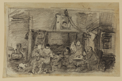 Interior with figures seated at a table and standing (recto)