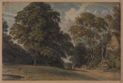 Landscape, with trees and houses