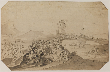 Battle scene in landscape with bridge over a river