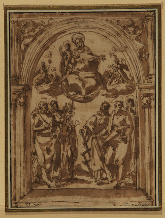 Virgin and Child in Glory with five saints - design for an altarpiece