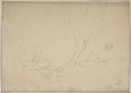 Trees by a stream (verso)