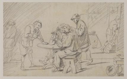 Peasants playing dice (recto)