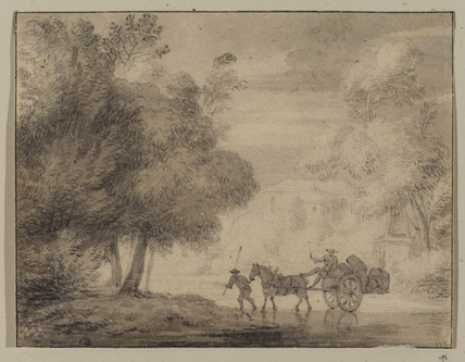 Horse and cart crossing a ford