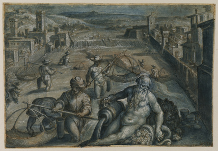 View of the River Arno in Florence, looking upstream, with fishermen and a river god