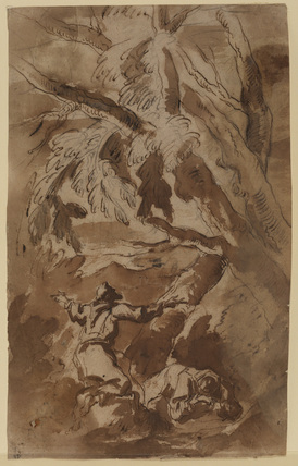 Saint Francis and companion in a wild landscape