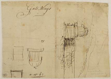 Architectural sketches including a pillared dome (verso)