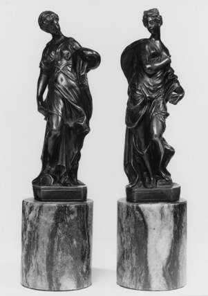 Pair of allegorical female figures