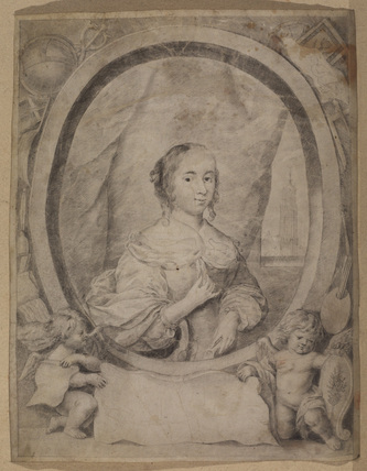 Portrait of a woman in an oval with cupids and scroll
