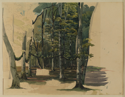 Wood with garlanded trees and figures