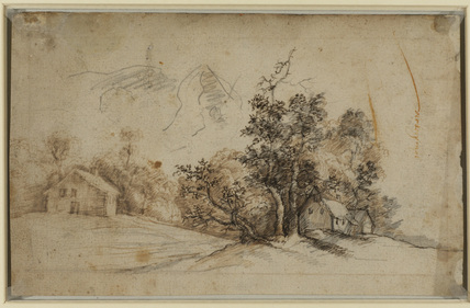 Landscape with cottages (verso)