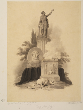 Statue on a column and sacrificial altar - illustration to Bowyer's 'History of England'