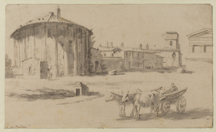 View in Rome with a round temple by the Tiber