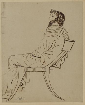 Draped male figure, seated in profile