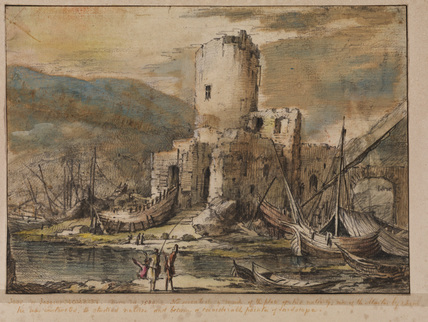 Coast scene with ruined castle and boats