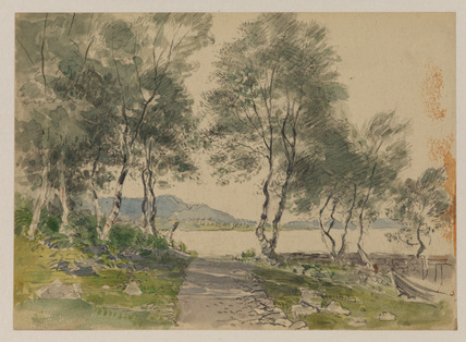 View of a bay through trees - harbour at Brentwood (?) (recto)