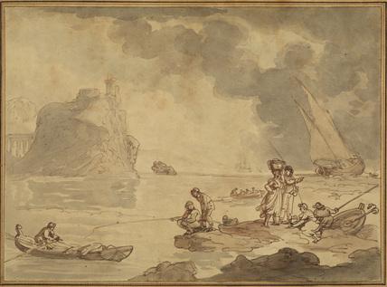 Imaginary coast scene, with figures