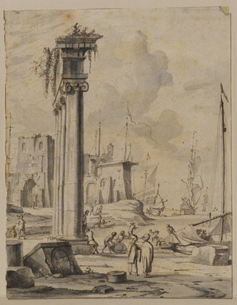 Seaport with classical ruins